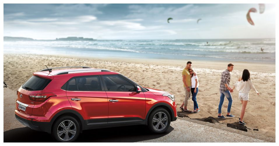 Автомобиль Hyndai Creta на пляже