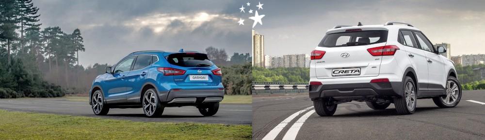 Боковые фото автомобилей Кашкай и Крета