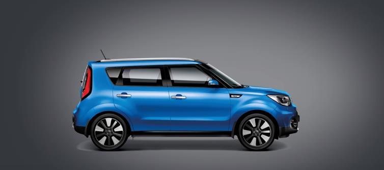 Боковое фото синего автомобиля